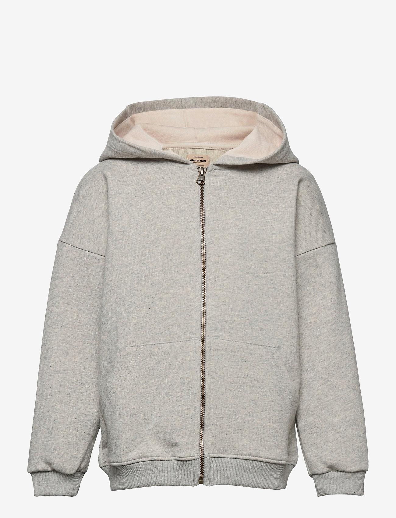 Mini A Ture - Alfi Zip Hoodie, K - hoodies - light grey melange - 0