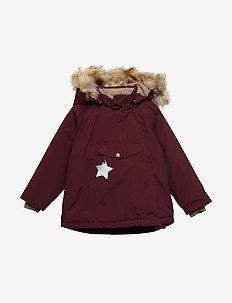 Wang Faux Fur Jacket, M - puffer & padded - winetasting plum