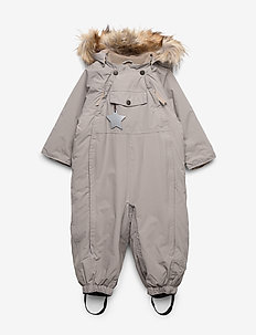 Wisti Faux Fur Snowsuit, M - snowsuit - cloudburst grey