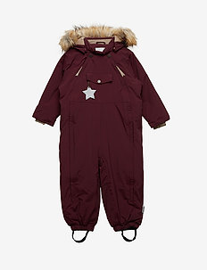 Wisti Faux Fur Snowsuit, M - vinterdress - winetasting plum