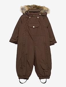 Wisti Faux Fur Snowsuit, M - vinterdress - dark choco