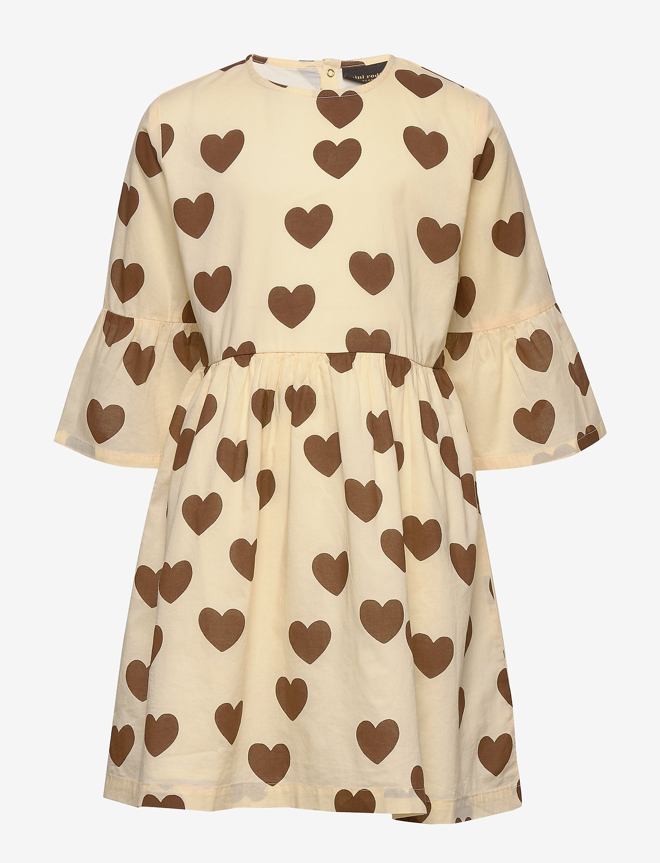 Mini Rodini - Hearts flared sleeve dress - kjoler - offwhite - 0