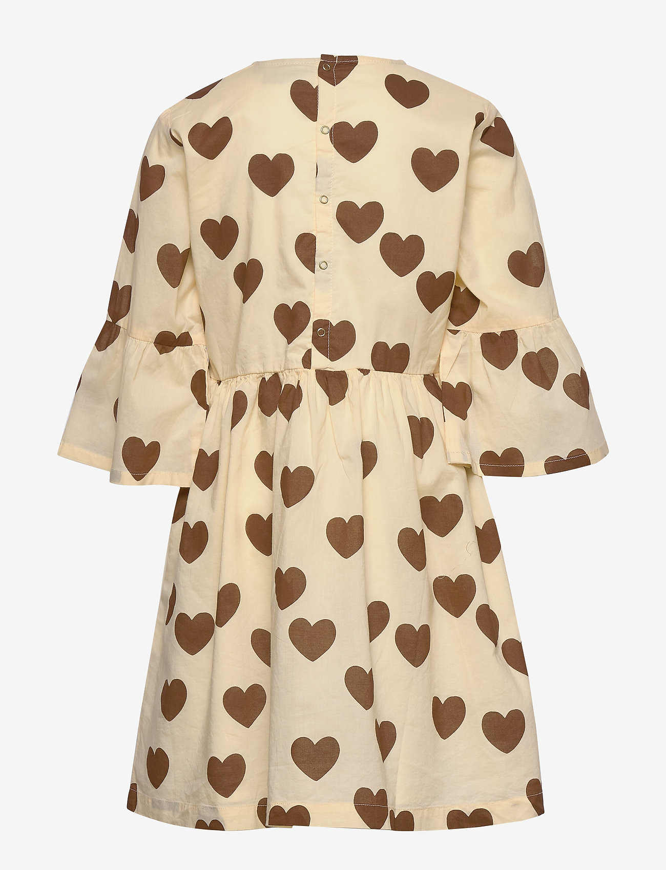 Mini Rodini - Hearts flared sleeve dress - kjoler - offwhite - 1