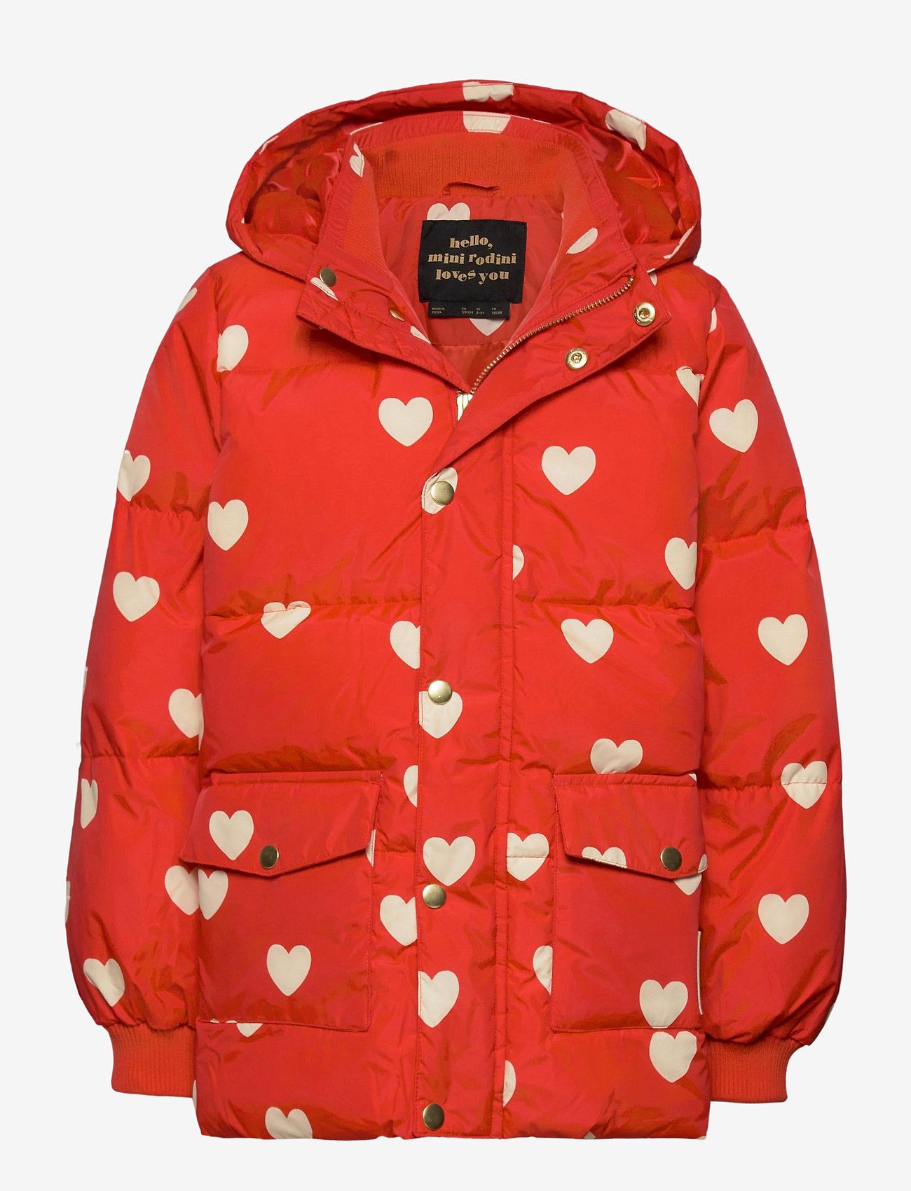 Mini Rodini - Hearts pico puffer jacket - puffer & padded - red - 0