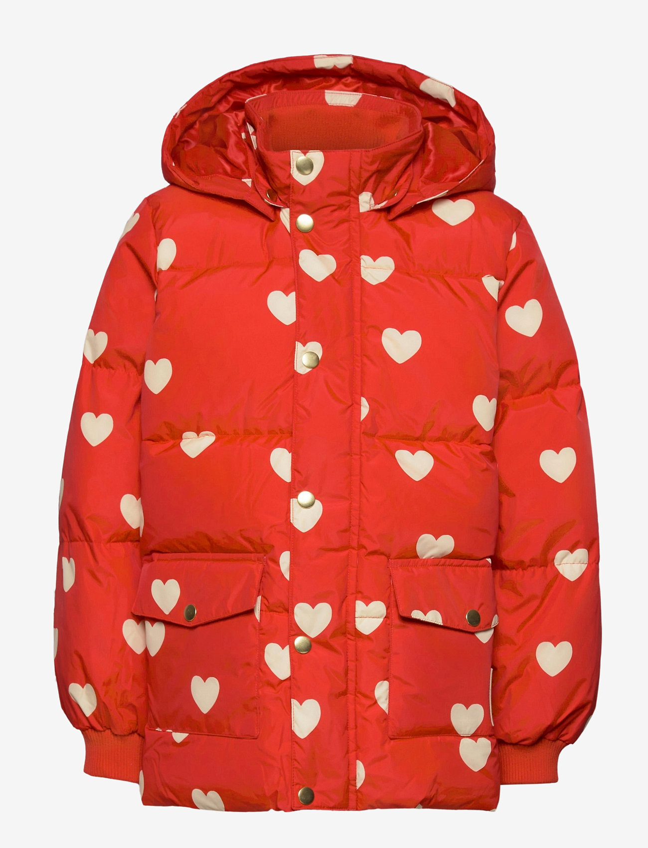 Mini Rodini - Hearts pico puffer jacket - puffer & padded - red - 1