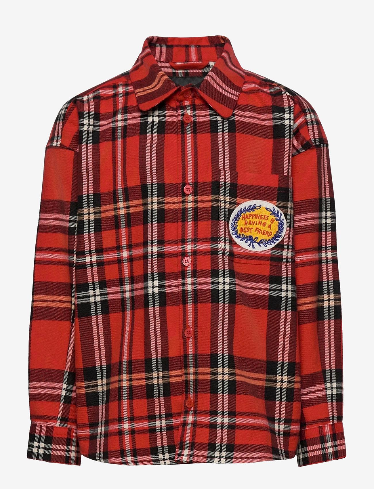 Mini Rodini - Woven flanell shirt - shirts - red - 0