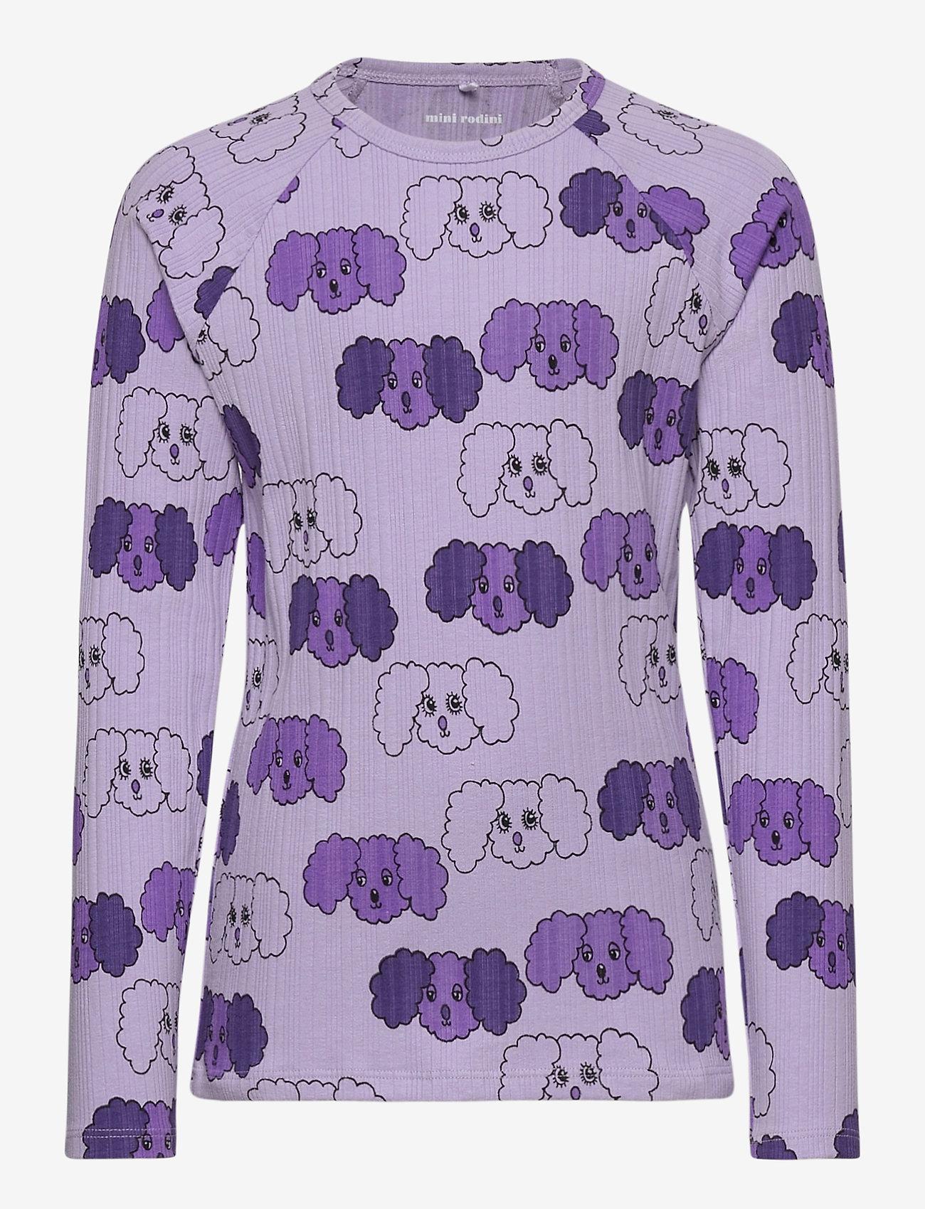 Mini Rodini - Fluffy dog aop ls tee - langärmelig - purple - 0