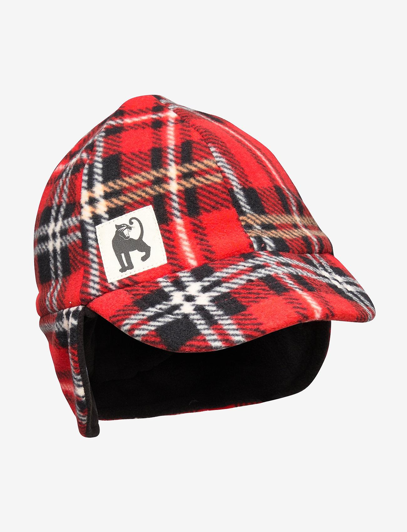 Mini Rodini - Fleece check cap - hatte og handsker - red - 0
