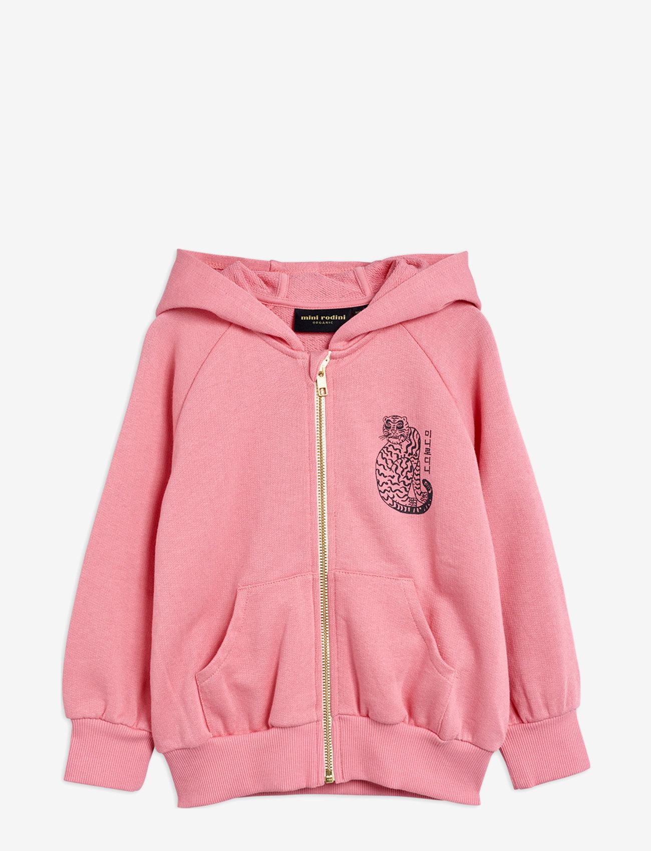 Mini Rodini - Tiger sp zip hoodie - sweatshirts - pink - 0