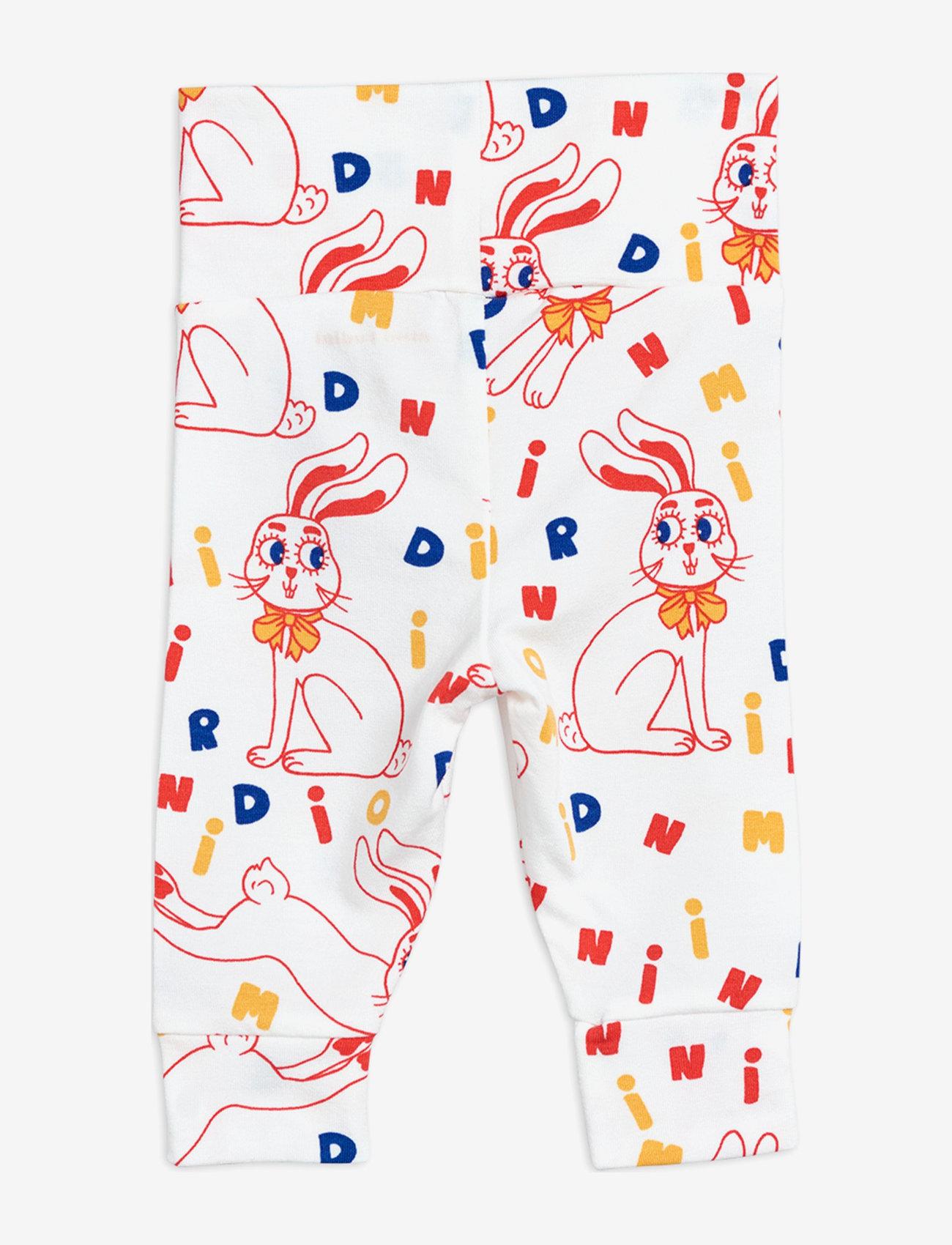 Mini Rodini - MR rabbit aop nb leggings - leggings - offwhite - 1