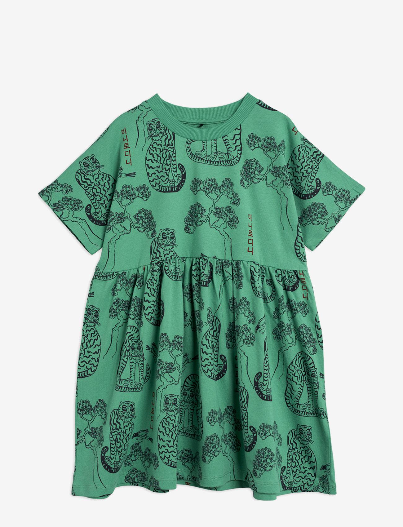 Mini Rodini - Tigers aop ss dress - jurken & rokjes - green - 0