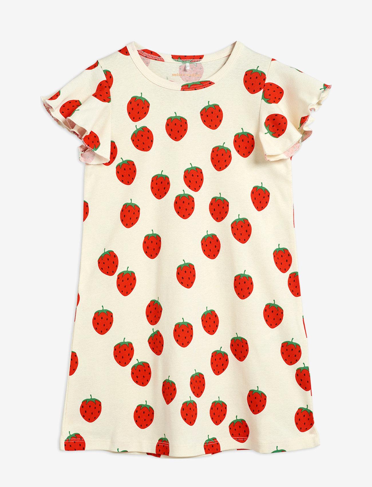 Mini Rodini - Strawberry aop wing dress - kleider - offwhite - 0