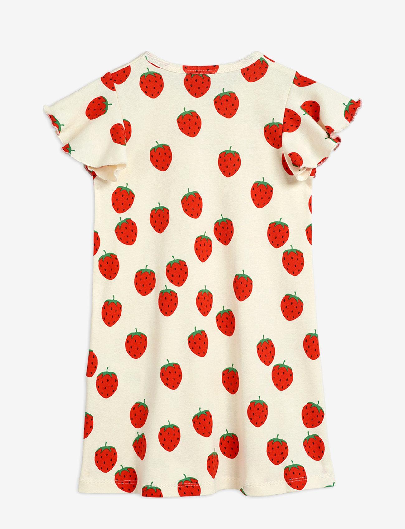 Mini Rodini - Strawberry aop wing dress - kleider - offwhite - 1