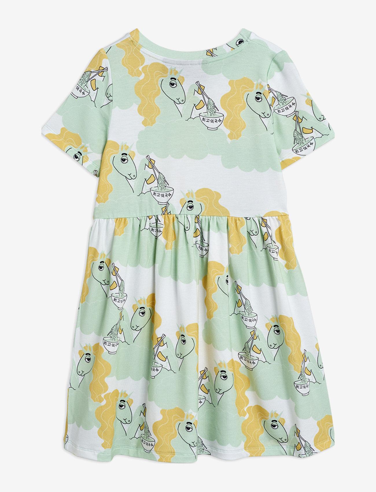 Mini Rodini - Unicorn noodles aop ss dress - kleider - green - 1