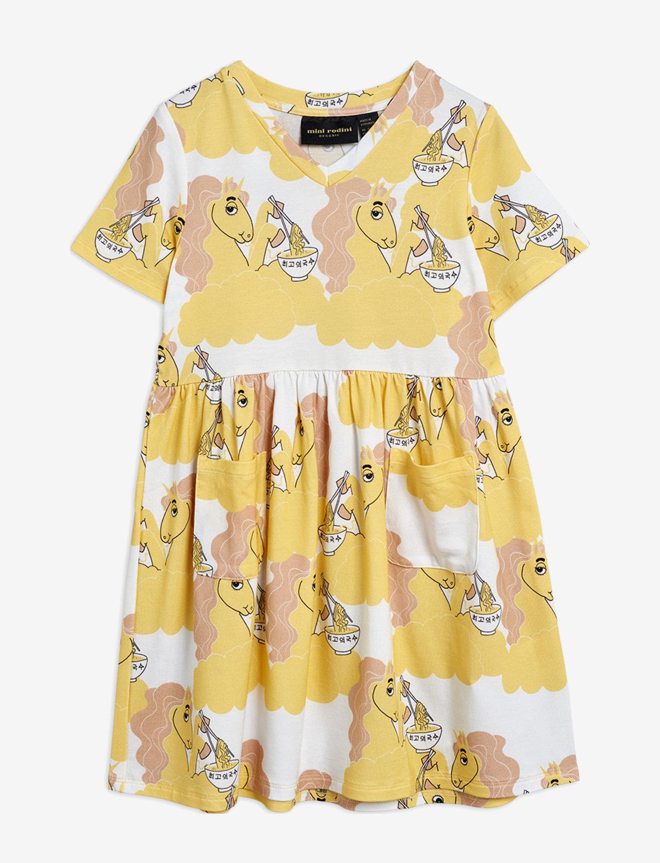 Mini Rodini - Unicorn noodles aop ss dress - jurken - yellow - 0