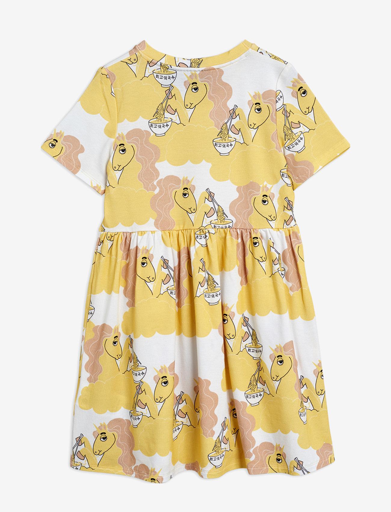 Mini Rodini - Unicorn noodles aop ss dress - jurken - yellow - 1