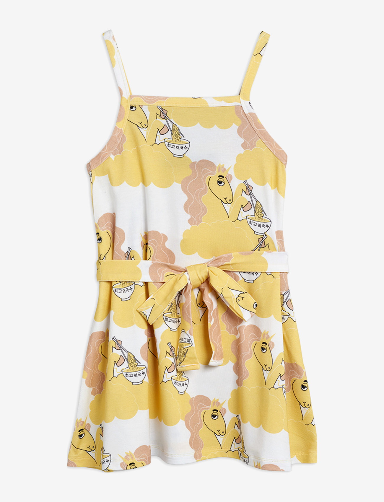 Mini Rodini - Unicorn noodles tank dress - jurken - yellow - 0
