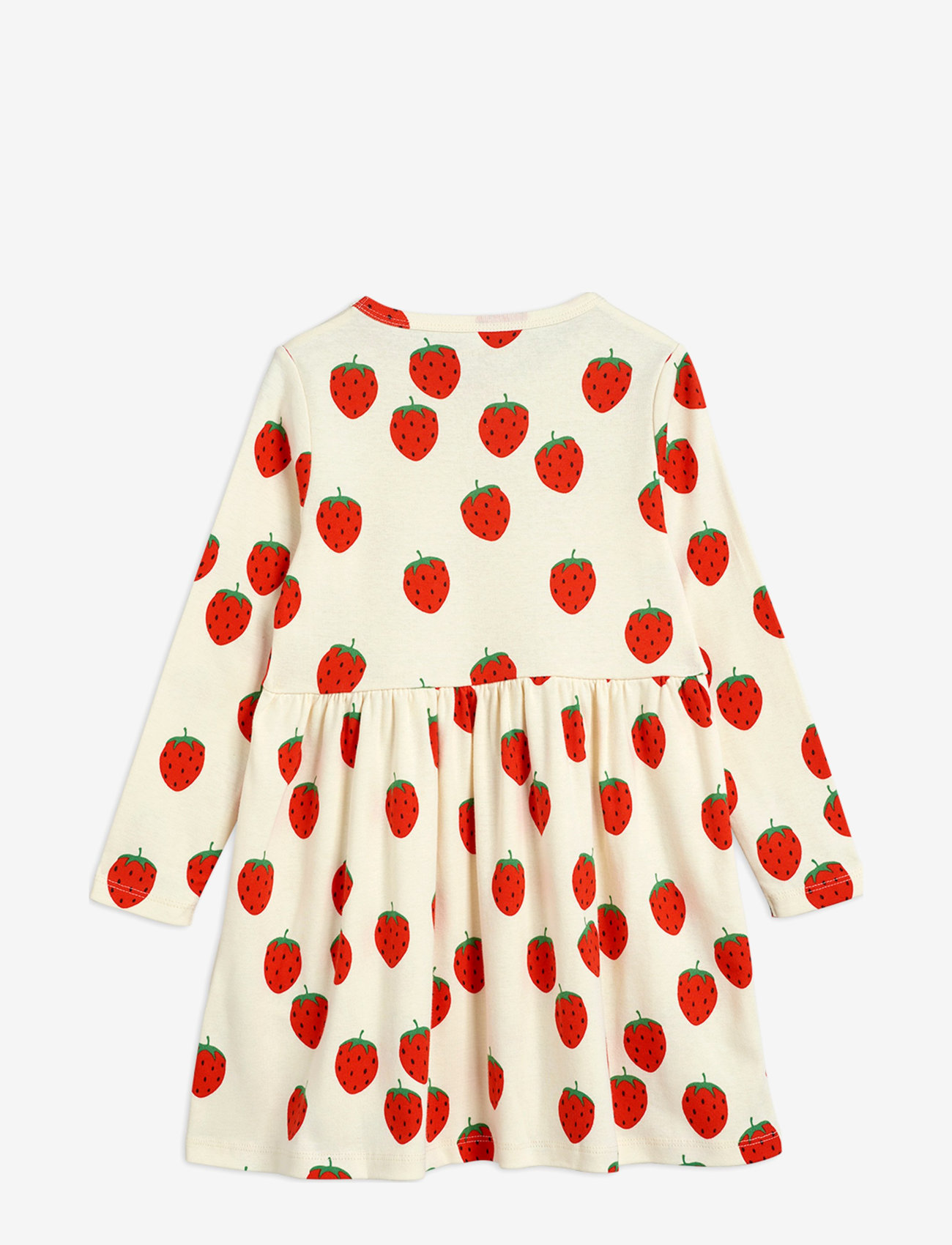 Mini Rodini - Strawberry aop ls dress - jurken - offwhite - 1