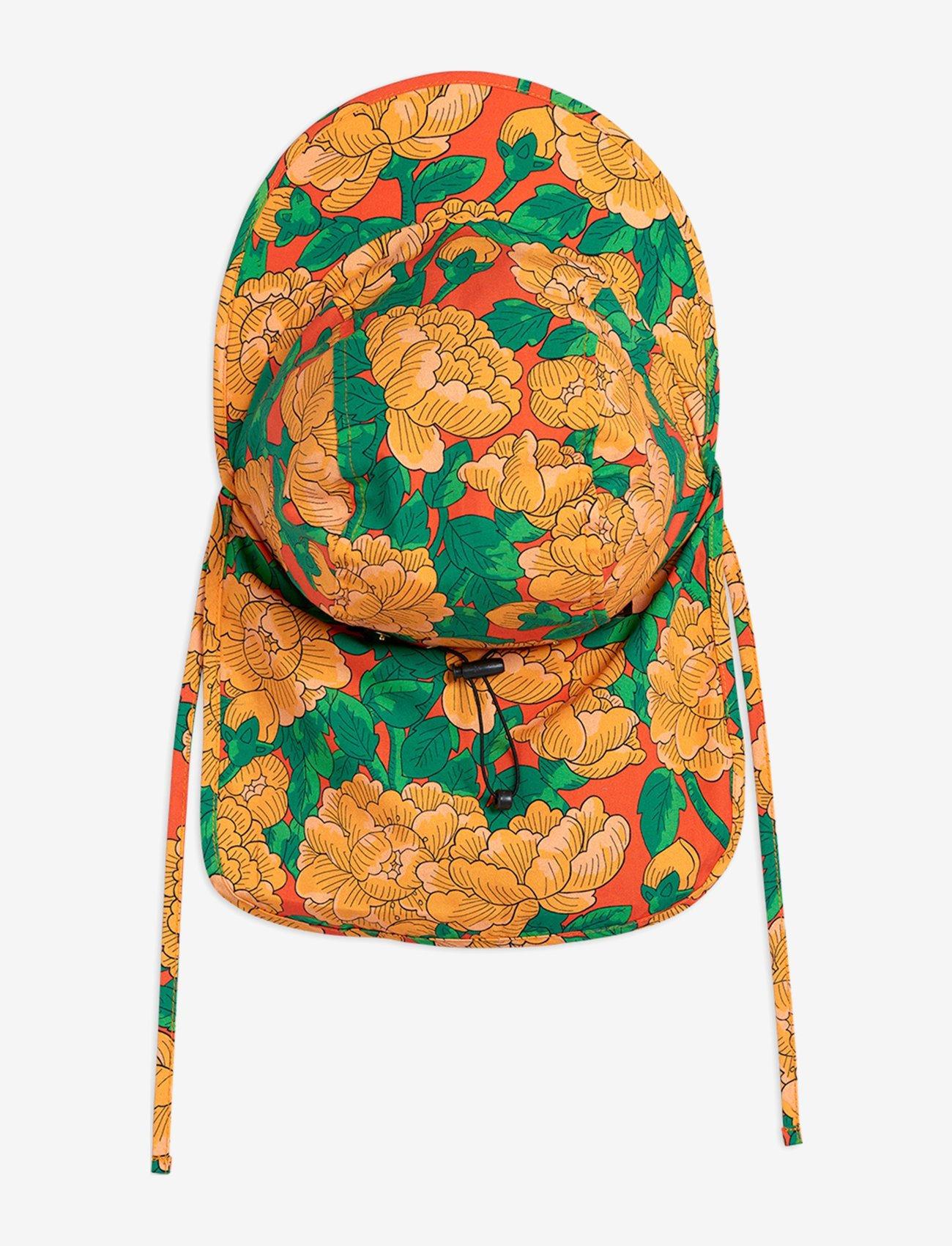 Mini Rodini - Peonies woven sun cap - huer & kasketter - red - 1