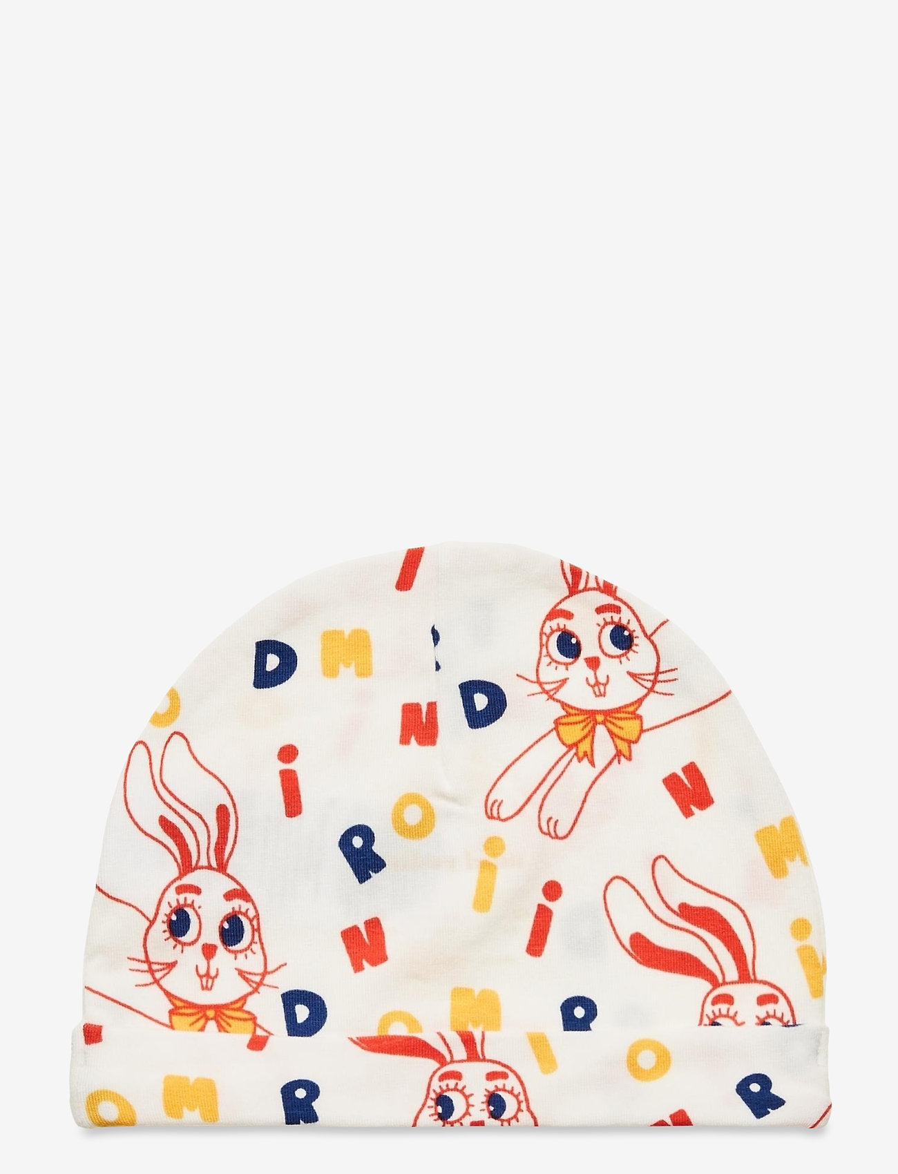 Mini Rodini - MR rabbit aop baby beanie - hatte og handsker - offwhite - 1