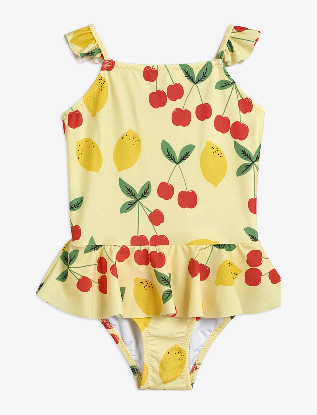 Mini Rodini - Cherry lemonade skirt swimsuit - swimsuits - yellow - 1