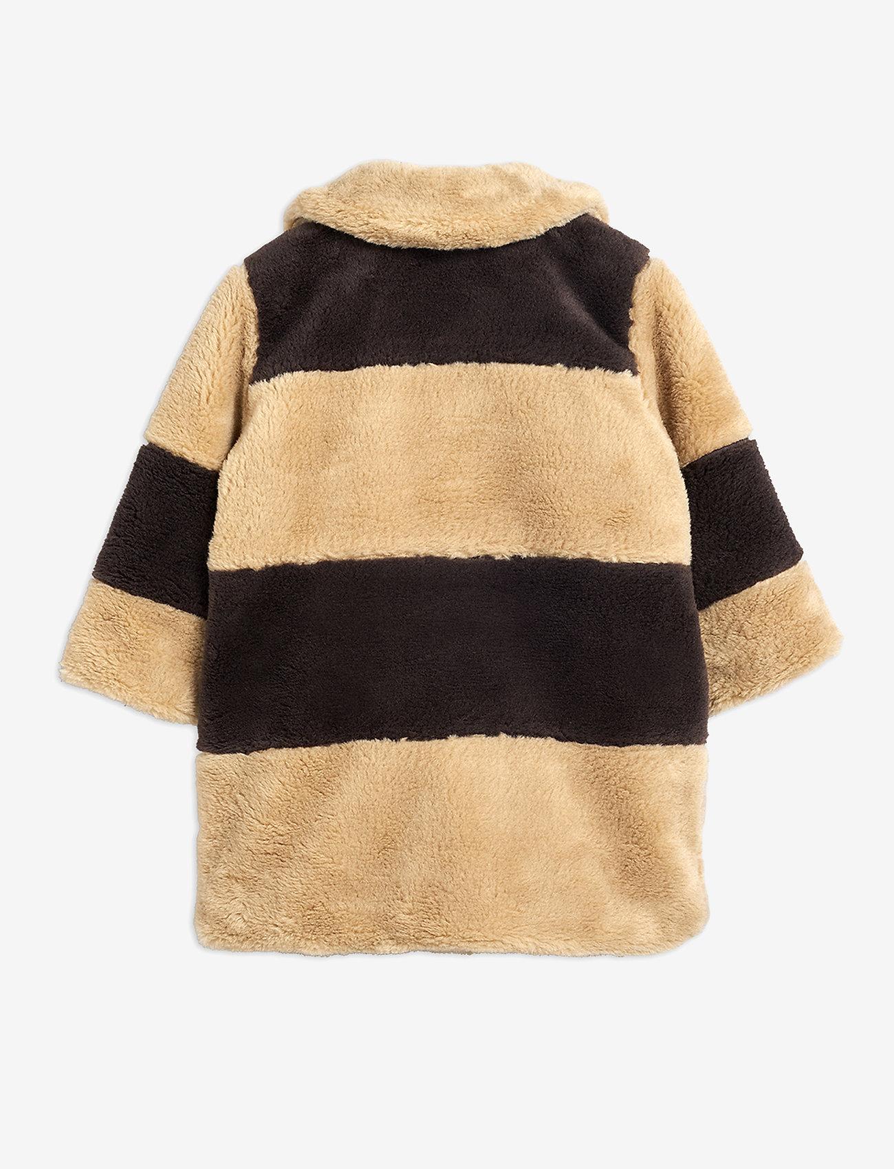 Mini Rodini - Striped faux fur coat - faux fur - beige - 1