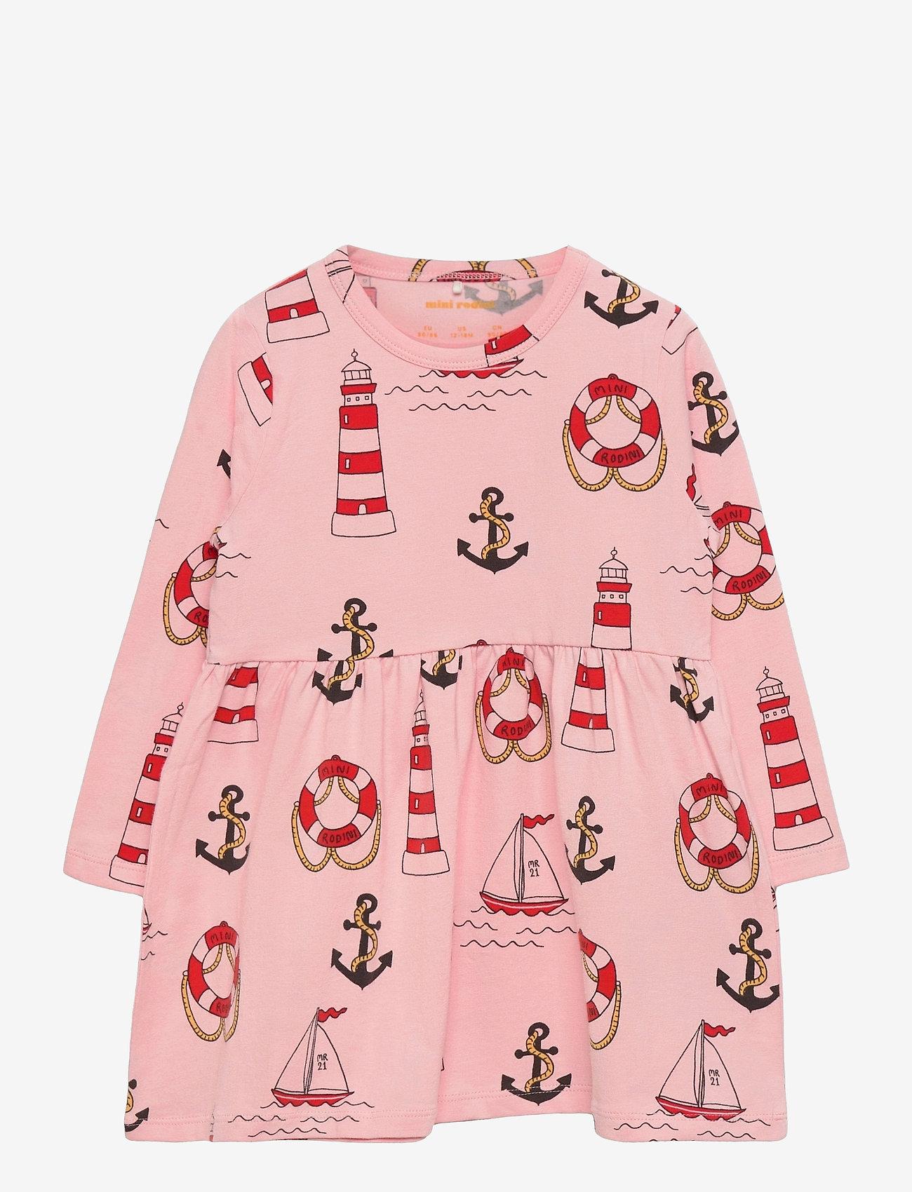 Mini Rodini - Lighthouse aop ls dress - kleider - pink - 0
