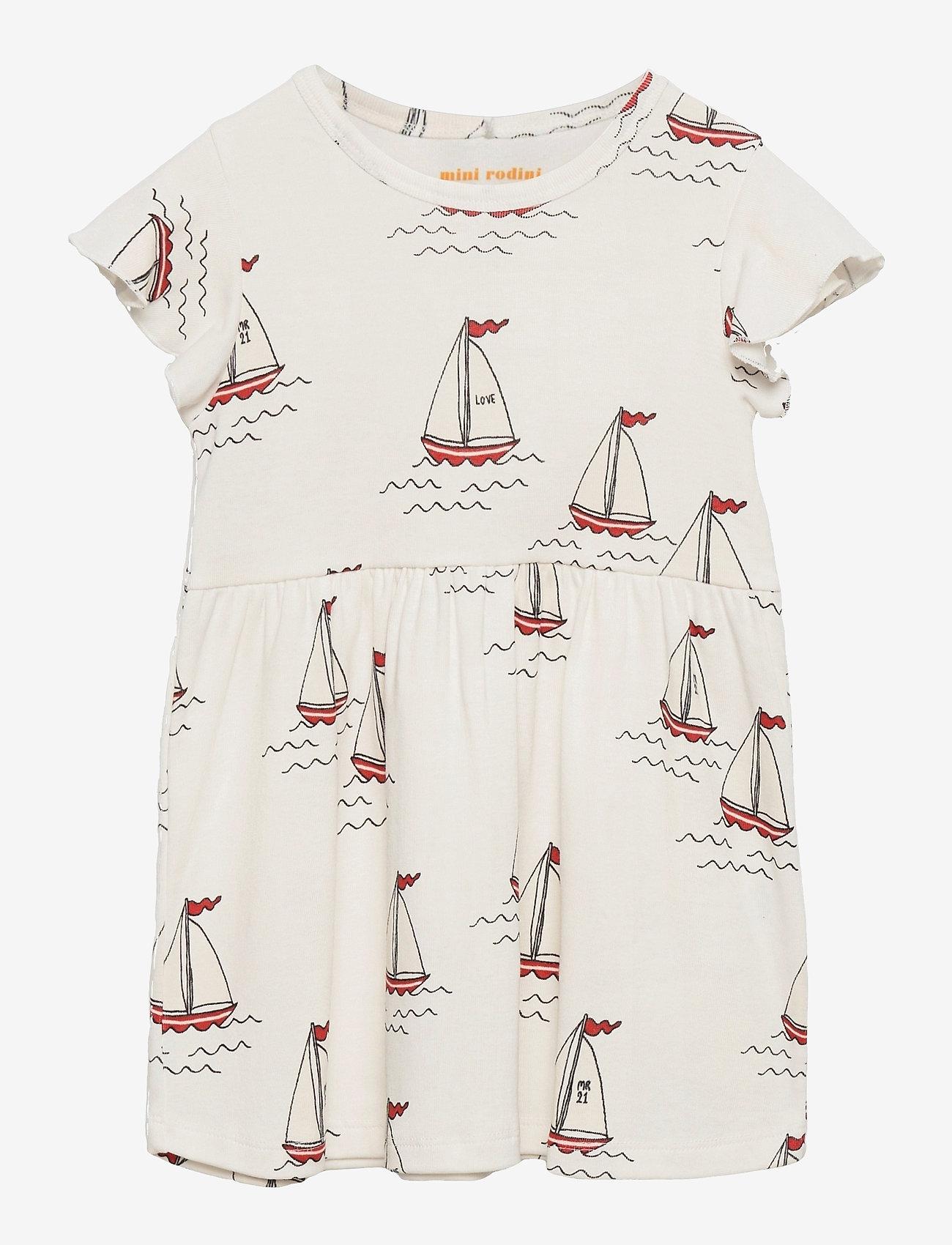Mini Rodini - Sailing boats aop wingdress - kleider - white - 0