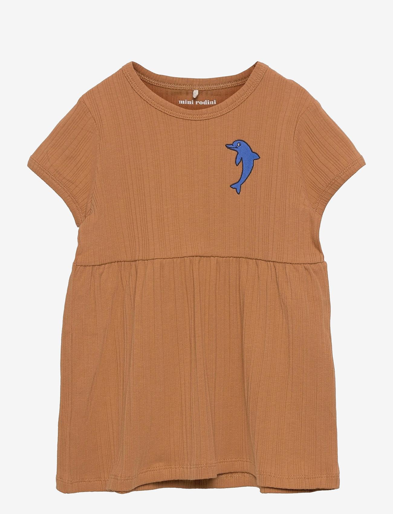 Mini Rodini - Dolphin emb ss dress - kleider - brown - 0