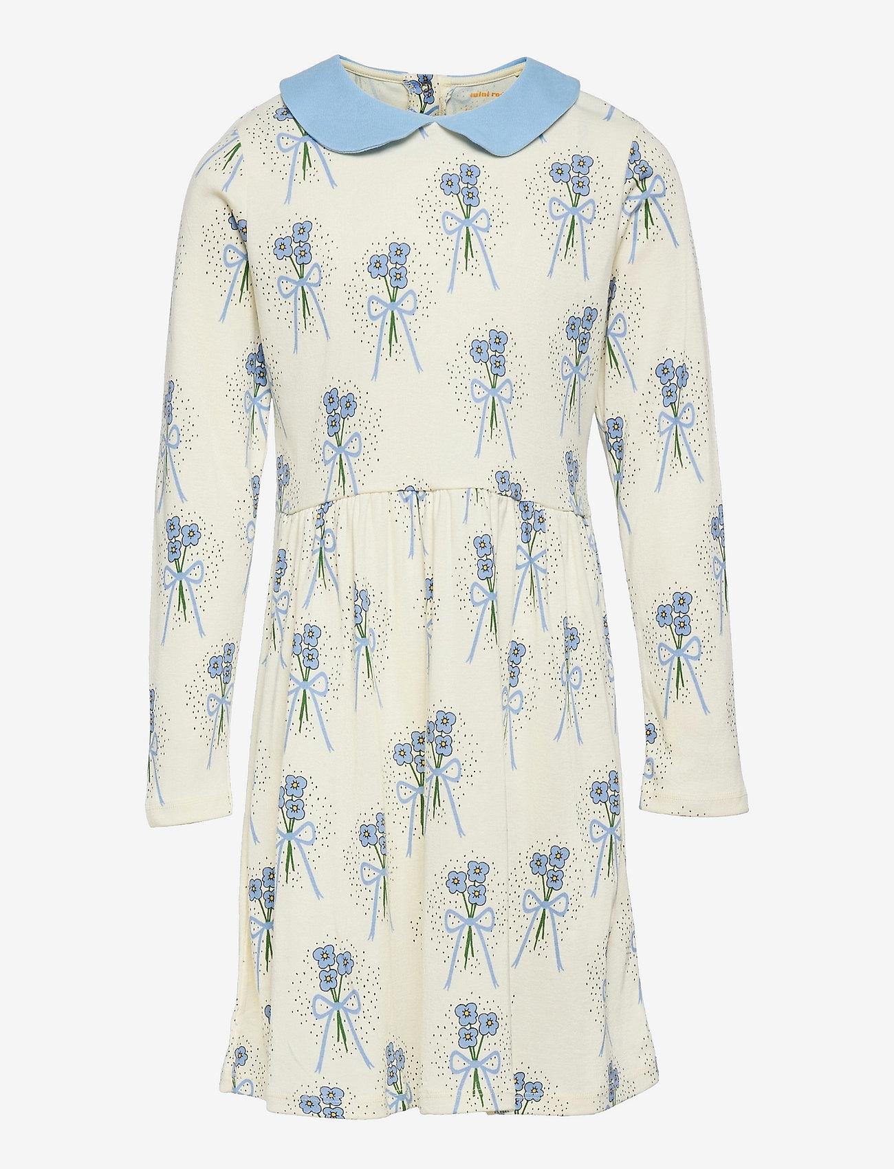 Mini Rodini - Winterflowers aop ls dress - kleider - blue - 0