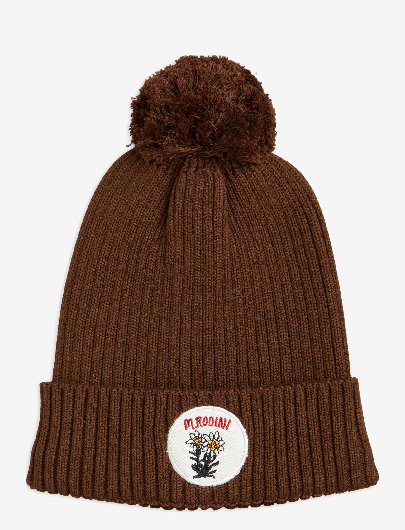 Mini Rodini - Edelweiss pompom hat - beanie - brown - 0
