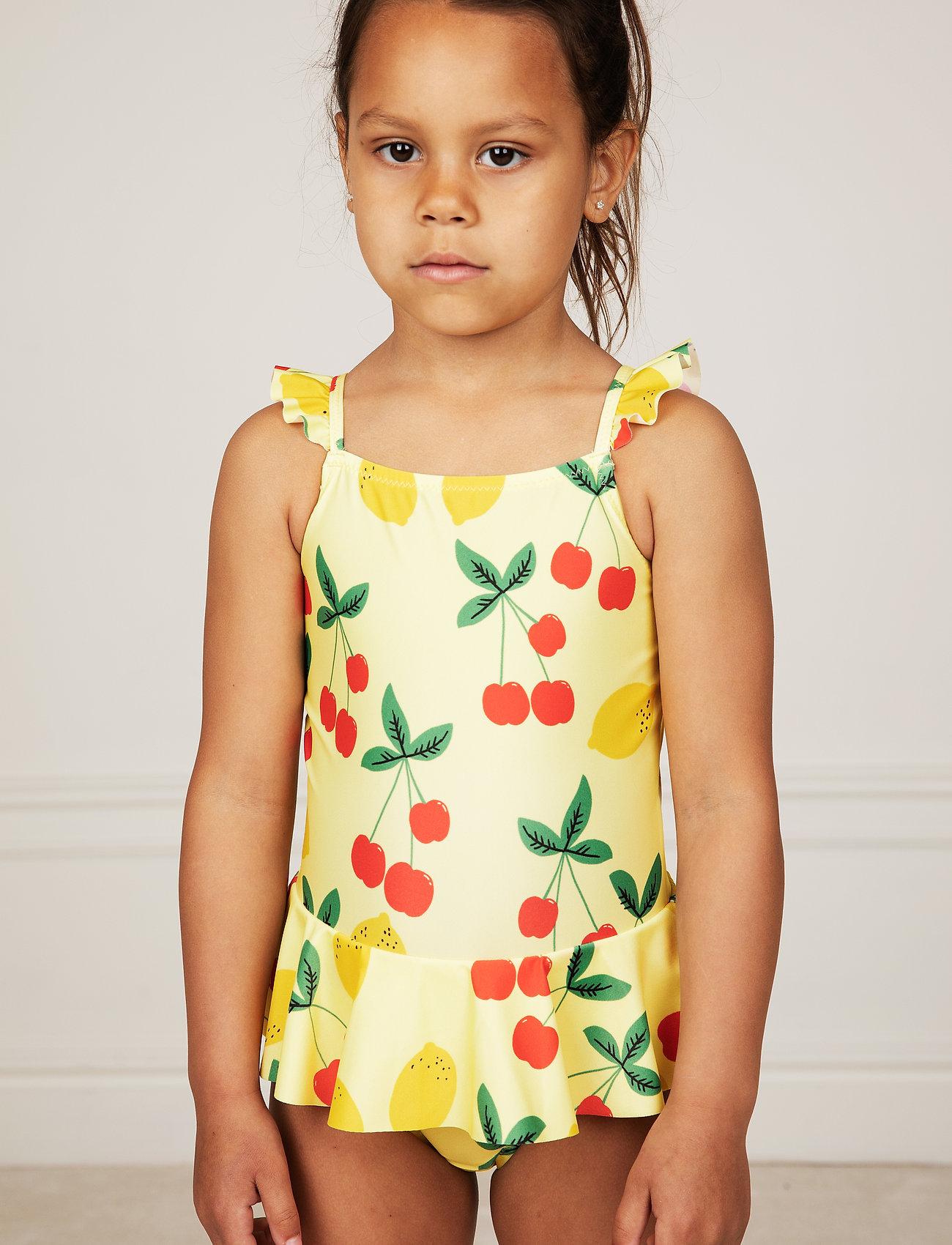 Mini Rodini - Cherry lemonade skirt swimsuit - swimsuits - yellow - 0