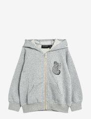 Mini Rodini - Tiger sp zip hoodie - sweatshirts & hoodies - grey melange - 0