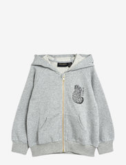 Mini Rodini - Tiger sp zip hoodie - sweatshirts - grey melange - 0