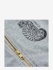 Mini Rodini - Tiger sp zip hoodie - sweatshirts & hoodies - grey melange - 2