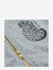 Mini Rodini - Tiger sp zip hoodie - sweatshirts - grey melange - 2
