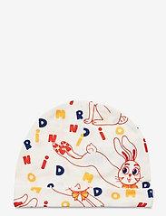 Mini Rodini - MR rabbit aop baby beanie - hatte og handsker - offwhite - 0