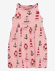 Mini Rodini - Lighthouse aop tank dress - kleider - pink - 0