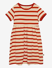 Mini Rodini - Stripe ss dress - kleider - red - 0