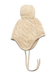 Cable knitted baby hat - OFFWHITE