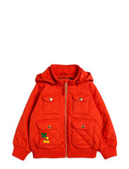 Cherry embroidery hooded jacket - RED