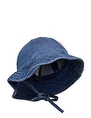 Denim strawberry sun hat - BLUE