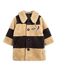 Striped faux fur coat - BEIGE