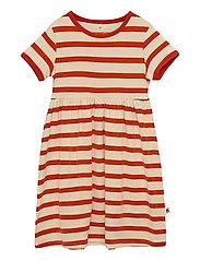 Stripe ss dress - RED
