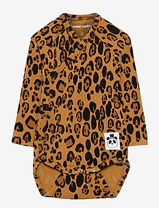 Basic leopard wrap body - manches longues - beige