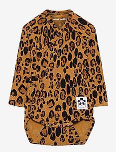 Basic leopard wrap body - langærmede - beige