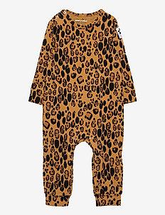 Basic leopard jumpsuit - langärmelig - beige
