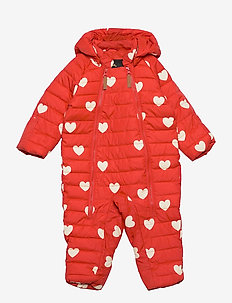 Hearts baby overall - puffer & padded - red