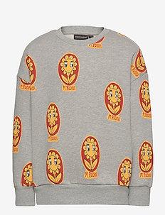 Flower aop sweatshirt - sweatshirts - grey melange