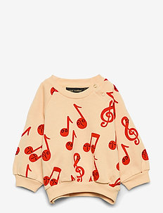 Notes aop sweatshirt - sweatshirts - beige